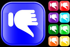 Icon of thumbs down. Thumbs down icon on shiny square buttons Stock Photography