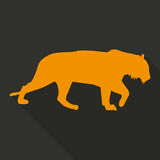 Icon tiger in orange color in a flat design. Vector illustration Royalty Free Stock Images
