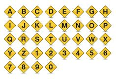 Icon Traffic Sign Alphabet Font A-Z. Decorative Icon Alphabet. Letters and Numbers Style Traffic-Road Sign Yellow Background Collection. EPS 10, gradients and Stock Image