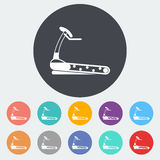 Icon trainer treadmill. Trainer treadmill. Single flat icon on the circle. Vector illustration Royalty Free Stock Photo