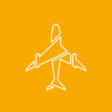 Icon of transparent airplane, plane on orange background vector illustration. Airport icon, airplane shape. White airplane icon. Vector design element for logo Stock Images
