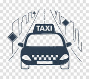 Icon travel by taxi silhouette. Icon travel by taxi in the city. silhouette, icon in the linear style Stock Image