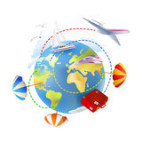 Icon of traveling around the globe Royalty Free Stock Photography