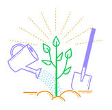 Icon tree planting, landscaping. Icon in the linear style Stock Photo