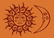 Icon of tribal sun and crescent moon Stock Photo
