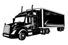 Icon of truck, semi truck, vector illustration Royalty Free Stock Photography