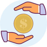 Icon two arms and coins Royalty Free Stock Image