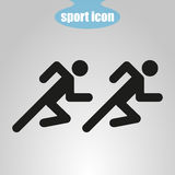 Icon of the two athletes running on a gray background. Vector illustration. Icon  of the two athletes running on a gray background. Vector illustration Stock Photo
