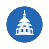 Icon of united states capitol hill building washington dc. vector. Icon of united states capitol hill building washington dc, american congress, white symbol Royalty Free Stock Images