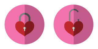 The icon is unlocked cnd Icon  lock the key red heart. Can be used in various tasks. Royalty Free Stock Image