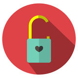 The icon is Unlocked lock the key red heart. Can be used in   various tasks. Stock Images
