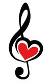 Icon Vector Black Clef with red heart Stock Images