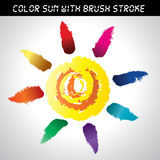 Icon vector brush paint sun set. Color vector brush paint sun set for design vector illustration