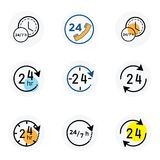 24-7 icon vector. Watch timer flat icon for apps and websites. White background Royalty Free Stock Images