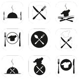 Icon vector illustration. Food, restaurant icons, logo, emblems. Royalty Free Stock Photo