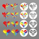 White round icons of colorful rainbow heart. Symbol for homosexual love, marriage, partnership. Vector Illustration collection set. Icon vector Illustration for Royalty Free Stock Images