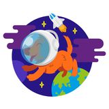 Dog in space. Icon very cute smile orange energy dog in spacesuit astronaut make flight in free dark spice between stars and planets earth spaceship Vector Stock Image