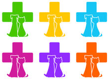 Icon with veterinary medicine symbol and pet Royalty Free Stock Photo