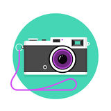 Icon of vintage photo camera. Black and white camera on a mint background Stock Images