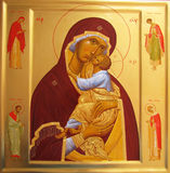 Icon. The icon of the Virgin with the Child Jesus.On the sidelines of the icon depicts Saints - Martyr Natalia, Martyr George, Princess Olga, Peter Absalom.I Stock Images