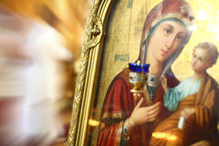 Icon of Virgin Mary and baby Jesus Stock Photo