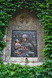 Icon of a Virgin Mary with Christ on a church wall at Kalemegdan fortress Stock Photos