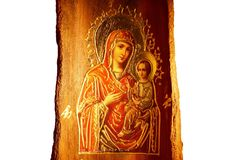Icon of Virgin Mary and Jesus Christ Stock Images