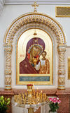 Icon of Virgin Mary and Jesus. In orthodox church Stock Image