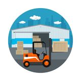 Icon with Forklift Truck. Icon Warehouse and Transport Services ,Forklift Truck Unloading or Loading Boxes on the Background of the City , Vector Illustration Royalty Free Stock Photos