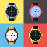 Icon of watch. Set of colored illustrations of watch, combines with other my icons of clock Stock Image