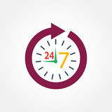 Icon watch timetable 24 hours Royalty Free Stock Images