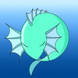 Icon water dragon, vector. A small water dragon is dozing like a ball stock illustration