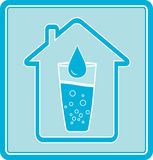 Icon with water drop in glass and house. Blue icon with water drop in glass and house silhouette Stock Photos