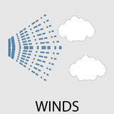 Icon weather winds. Flow air stream, typhoon forecasting, climatology hurricane, windy interface widget tornado.  Vector art design abstract unusual fashion Stock Image