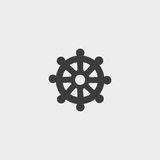 Icon wheel of Dharma in a flat design in black color. Vector illustration eps10. Icon  wheel of Dharma in a flat design in black color. Vector illustration eps10 Royalty Free Stock Photos
