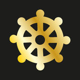 Icon wheel of of Dharma in gold. Buddhist symbol Stock Photos