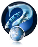 Icon Why global questions?. Blue question mark icon with globe and reflection Stock Images