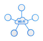 The icon of wi-fi cloud. The concept of wireless internet access and data storage. Royalty Free Stock Image