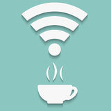 Icon of Wi-Fi with shadow. Vector icons of Wi-Fi with a cup and shadow royalty free illustration