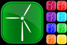 Icon of a windmill. On shiny square buttons Royalty Free Illustration