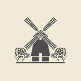 Icon windmill with trees. Icon of a stylized windmill with trees. Flat vector isolated silhouette Stock Images