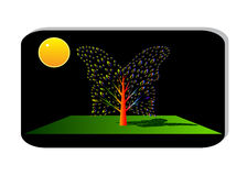 Icon window and tree. Royalty Free Stock Photography