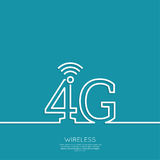 Icon Wireless. 4g. New technology, high speed internet access. Open access. Wi fi icon. Outline. minimal. abstract background stock illustration