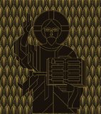 Icon With The Golden Face Of Jesus In The Art Deco Style. Royalty Free Stock Photography