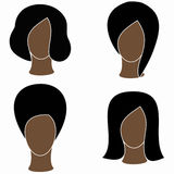 Icon women black. Icons of black women with black hair Royalty Free Stock Images