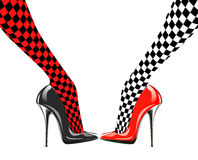 Icon women's shoe. High heels. Chess pattern. Abstract design Royalty Free Stock Photography