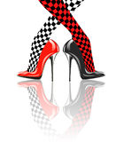Icon women's shoe. High heels. Chess pattern. Abstract design Stock Image