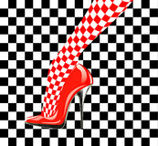 Icon women's shoe. High heels. Chess pattern. Abstract design Royalty Free Stock Images