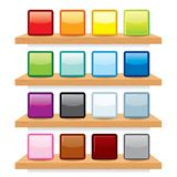 Icon on Wood Shelf Display. Vector Template Design Stock Image