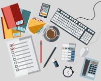 Icon on Work Table Set vector illustration